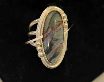 zebra jasper bezel set ring.  sterling ring finished to size