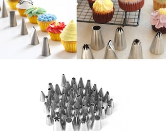 52PCS Stainless Steel Cake Nozzle Set Ice Cream Tips Pastry Bag Icing Piping Coupler DIY Baking Tools New Year Cake Decoration