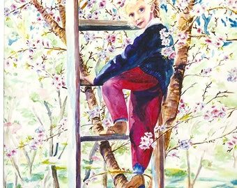 Almond Blossoms Watercolor Painting with little girl