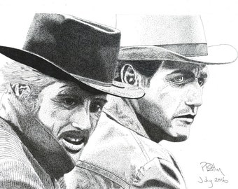 Art Print - Pen & Ink Drawing, A4 - Butch and Sundance