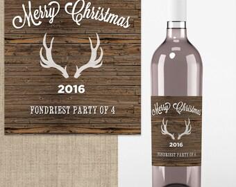 4 Wedding Wine Labels - Custom Wedding Wine Labels - Deer Antlers - Thank You  - Rustic Wine labels - Country Wine Labels - Christmas