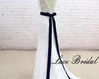 Classic Lace Wedding Dress Mermaid Wedding Dress with Sheer Back Bataeu Neckline Bridal Gown with Ribbon