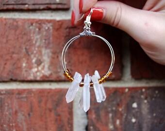 Quartz Hoop Earrings- Silver Hoop Earrings- Boho Earrings- Quartz Earrings- Orange Beaded Hoops- Boho Style