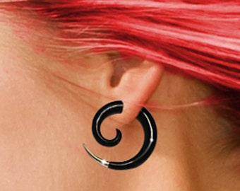 Fake Gauges, Small Silver Tipped Spirals, Tribal Earrings, Split. Expanders, Cheaters, Organic, Handmade, Fake Plugs - H17