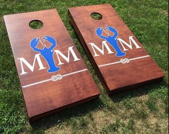 Custom Monogram Wedding Cornhole Boards - Custom Decal Wedding Logo