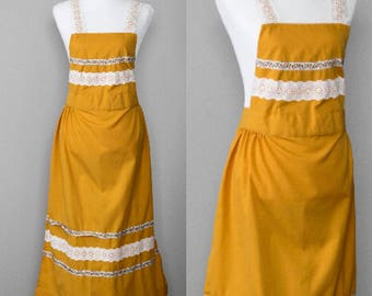 Handmade Full Apron | Yellow | Vintage Kitchen | Thick | Lace | Long | Gold | Mustard Yellow