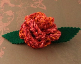 Crocheted Rose Barrette - Red and Orange Sparkly (SWG-HB-ZZ08)