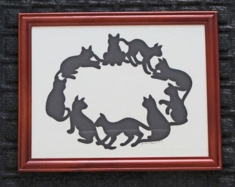 Cats In A Circle  - Scherenschnitte - Hand Paper Cutting Art signed and dated By Janet Lynch -8.5x11 Framed