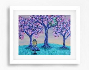 Alice in Wonderland Art Print, Alice in Wonderland Nursery Decor, Alice in Wonderland Decor, Cheshire Cat Art, Playroom Art, Nursery Art