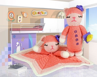 Crocheted CAT Lovey and Soft Toy Set, Toy Cat, Pink Cat, Cuddly Soft Plushie, Baby Safe Gift, Comforter,  Baby Shower Gift, Ready to Post.
