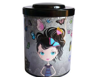 """Kitchen storage gift box for tea or coffee """"butterflies in her hair"""""""