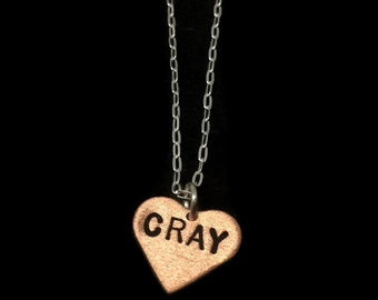 Cray Necklace - Cray Cray Heart Necklace, Round Necklace, Metalwork, Metal Pendant, Metal Taboo