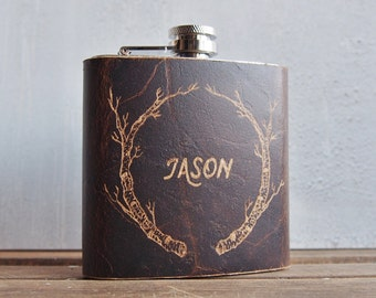 Birch Branch Hip Flask, oak brown leather, customised tree leather flask, Genuine Leather goods, outdoors accessories, wedding gift