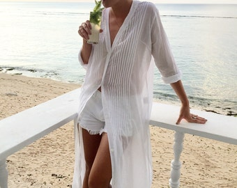 Pantai Cover Up Dress - White Cotton Voile - Code: P086 (a)