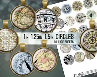 "Compass Maps Digital Collage Sheets 1 inch 1.25"" and 1.5"" Circles Printable Download for Pendant Magnet Bottle Cap Necklaces Crafts JPG"