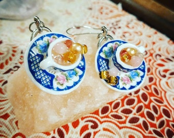 Battle of the Roses #2 - Tiny Teacup Earrings