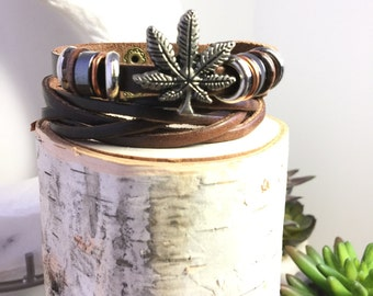 Leather Woven Weed Bracelet, Cannabis Bracelet, Pot Bracelet