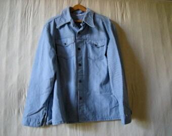vintage denim jacket.light blue.1970's style pockets.retro-
