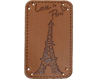 "Label sewing ""Love Paris"" Eiffel Tower in faux leather"
