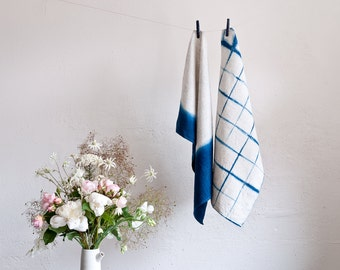 Linen Shibori Eco Tea towel kitchen cloth natural indigo hand dyed Australia Bind and Fold