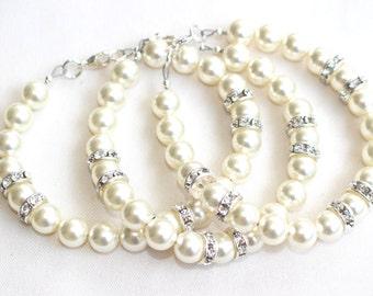 Bridesmaid Bracelets, Pearl Bracelet, Simple Pearl Bracelet, Jr. Bridesmaids Jewelry, Ivory Pearl Bracelet, Wedding jewelry, bridesmaid gift