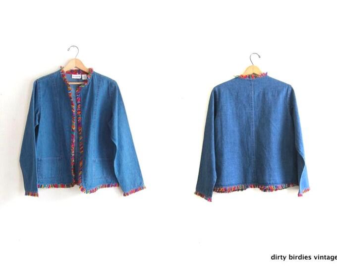 Rainbow Fringed Jean Jacket 90s Open Denim Shirt Coat Vintage Spring Jacket Colorful Silk Fringe Womens Medium