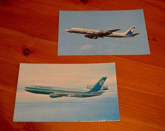 Vintage Set Of 2 Air New Zealand DC-8 & DC-10 Souvenir Postcards c. 1974