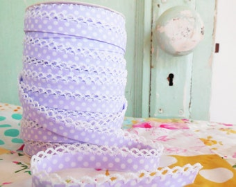Lilac Crochet Edge Double Fold Bias Tape (No. 12). Handmade Sewing Supplies. Purple Bias Tape without bias tape maker