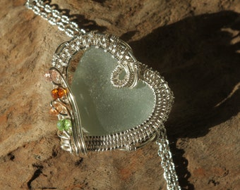 wire wrapped jewelry, sea glass hearts, sea glass pendant, sea glass jewelry, seaglass jewellery, pendants