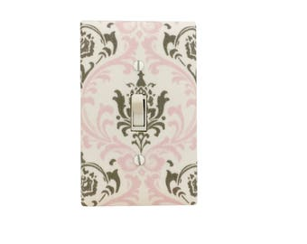 Damask  Light Switch Plate-Pink White  Grey  Switch Cover-Girls Bedroom-Pink Grey Outlet Cover -  Nursery Decor- Bella Girls Premier Prints