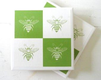 Honey Bees and Checks Ceramic Drink Coasters-Set of 4