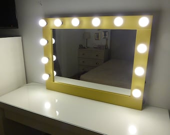 Hollywood lighted vanity mirror large makeup mirror with hollywood mirror with lights vanity mirror lighted makeup mirror wall hanging or self mozeypictures Choice Image