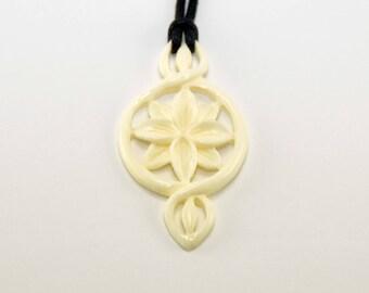 Stone Flower Pendant - Hand Carved Pendant - Necklace - Pendant
