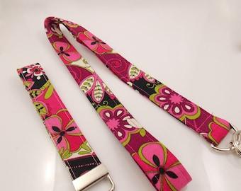 SALE LANYARD Teacher Lanyard Paisley Lanyard  Flower Lanyard Flower Key Holder Pink Paisley Lanyard Tapestry Lanyard ID Badge Holder