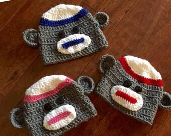 Easter basket stuffer, crocheted sock monkey hat, hand made hat costume hat, sock monkey gift, crocheted sock monkey hat