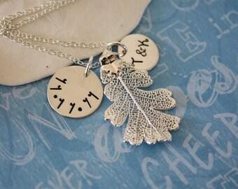 Bride & Groom Wedding Day Keepsake, Real Leaf Necklace, Silver Leaf