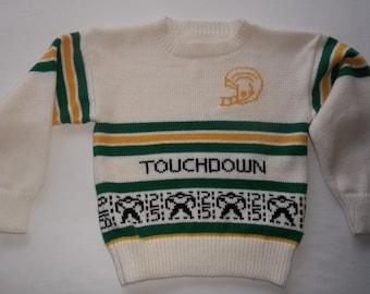 Green Bay Packers Sweater Custom Design Handmade Size 7-8