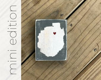 MINI Adirondack Park Silhouette - ADKS - Adirondacks - ADK - Custom Location - Home - Cabin - Lodge - Vacation - Souvenir - Heart - Small
