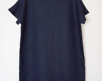Women's shift dress in navy blue linen, size S
