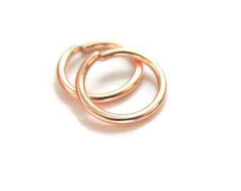 Solid Rose Gold Cartilage Earrings Rose Gold Small Hoop Earrings 18Gauge 8mm, Snug Fit, Solid Yellow Gold or Rose Gold, One Pair