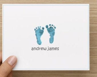 Baby thank you card: Personalized and personally designed baby boy baby shower thank you card!  Baby feet. Packages of 10, 20, or 30