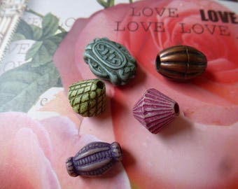 set of 5 different patterns and colors and creative vintage style acrylic beads