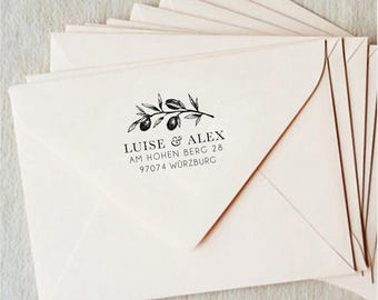 Custom Olive Branch Adress Stamp / Tuscany Custom Stamp for Wedding Invitations / Family Name Adress Stamp / Custom Gift / Gift Calligraphy