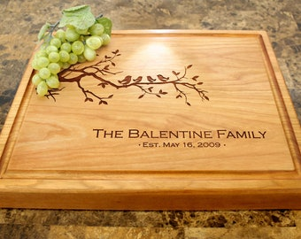 Personalized Chopping Block, 12x15~1&3/4 thick Walnut/Cherry/Sapele, Engraved Butcher Block  - Wedding, Anniversary, Housewarming Gift. 401