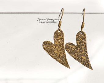 Floral Heart Earrings Antique Bronze Henna Mehndi Vintage Style Yoga Jewelry