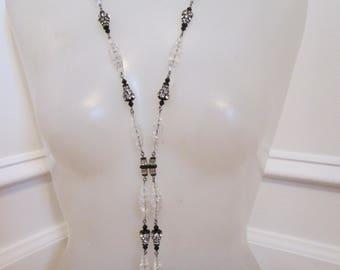 Gorgeous Vintage Black and Crystal Lariat - Black Tie
