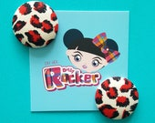 Red Leopard Print Button ...