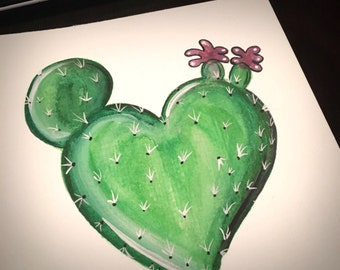 Hand painted watercolor anatomical heart cactus succulent