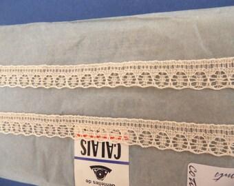 Lace vintage Cotton lace VINTAGE - small antique lace cotton beige 5 m
