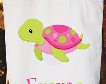 Pink Turtle Tote Bag -- Girls Bag -- White Cotton Tote Bag -- Any wording